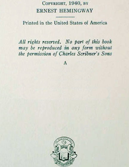 Copyright Page of For Whom the Bell Tolls First Edition