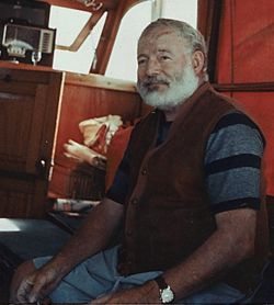 Hemingway on his yacht Pilar sometime in the 1950s