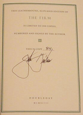 A Time to Kill by John Grisham Signed Limited Edition Signature Page